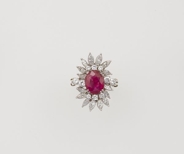 Burmese ruby and diamond ring, with no indications of heating