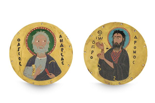 Two round plaquettes in gold and cloisonné polychrome enamels depicting Saint Peter and Saint John the  [..]