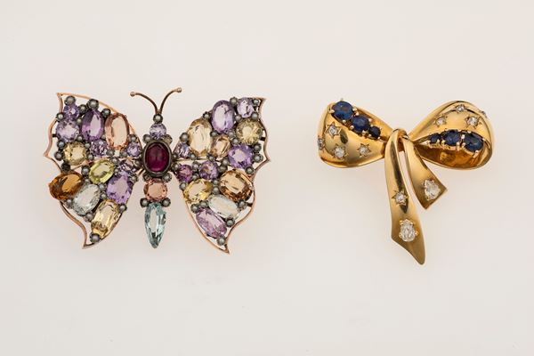 Two gem-set and gold brooches