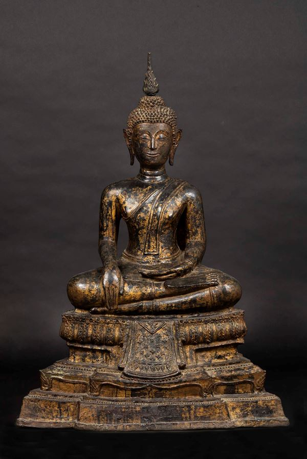 A large gilt bronze figure of a seated Buddha, Thailand, 19th century