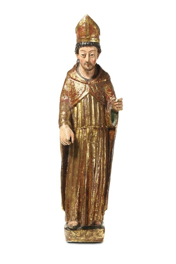 A Bishop Saint (Saint Fermin?) in gilded and polychrome wood. Spain, 16th century