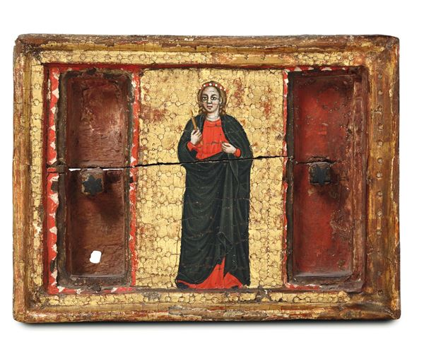 A rare reliquiary with an image of a Saint (Apollonia?) on a gold backdrop. Italian art from the 15th  [..]