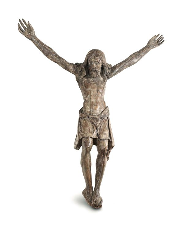 A Corpus Christi in carved wood. Sculptor active in the first half of the 15th century
