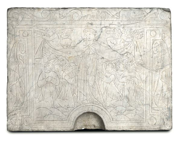 A white marble slab, engraved with an image of the Virgin of Mercy. Tuscan Renaissance art, 16th century