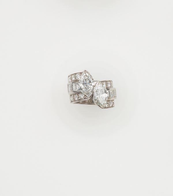 Two marquise-shaped diamonds ring