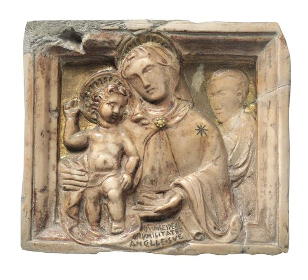 A marble bas-relief with traces of gilding, depicting a Madonna with Child and Saint. Renaissance art from Central-Southern Italy, second half of the 15th century