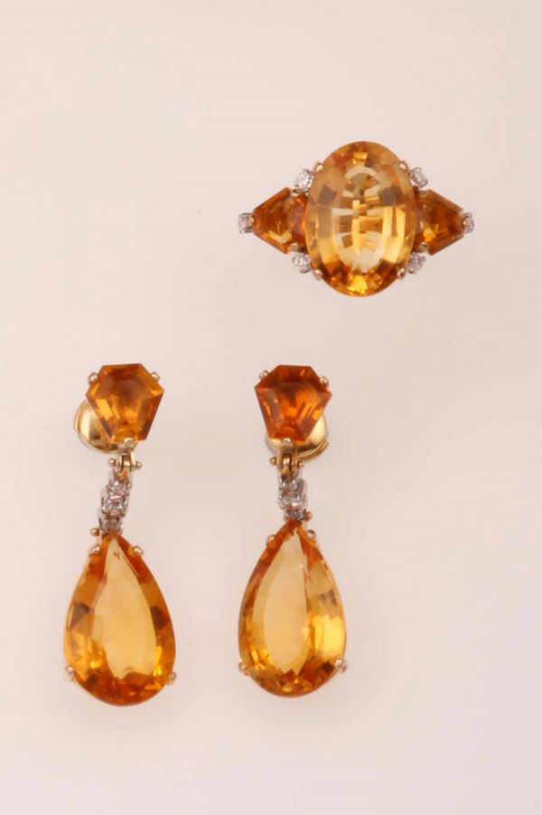 Citrine and diamond demi-parure comprising a pair of earrings and a ring