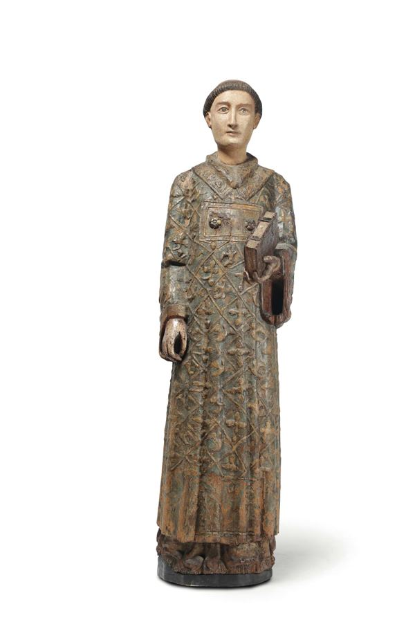 A deacon Saint in painted and gilded wood. Sculptor active in Tuscany and Lazio in the first half of  [..]
