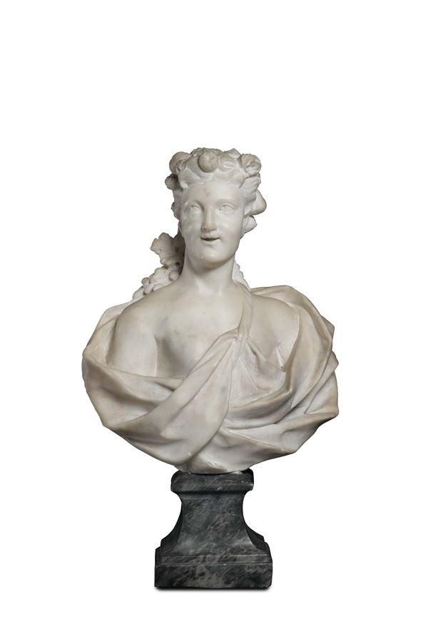 A white marble bust of Flora. Baroque sculptor active in Genova in the second half of the 17th centur [..]
