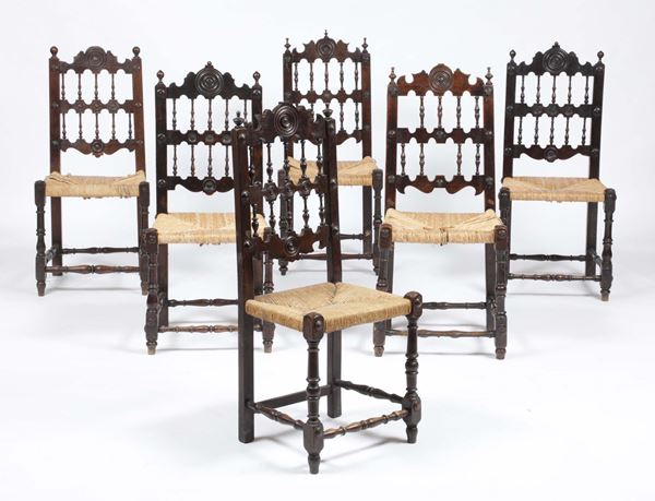 Six turned wood chairs, 19th century