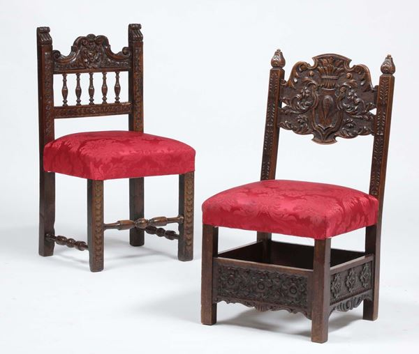 Two carved wood chairs, 19th century