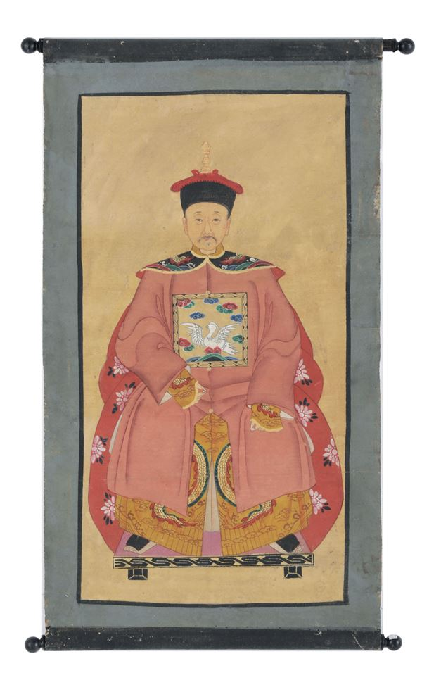 Two pairs of paintings on paper depicting Emperors and Empresses (?), China, Qing Dynasty, 19th century