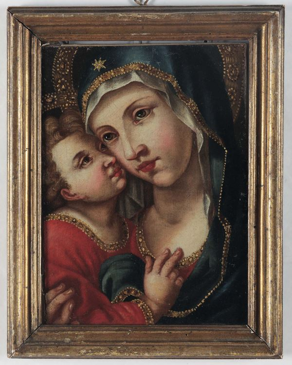 A Madonna with Child, Italian school of the 17th century, oil on canvas Madonna con Bambino