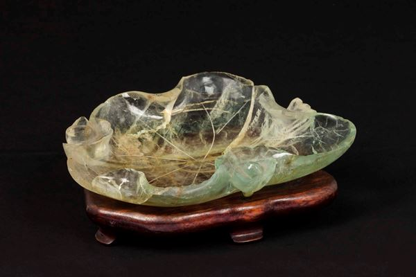 An agate brush washer in the shape of a lotus flower, China, Qing Dynasty, late 19th century