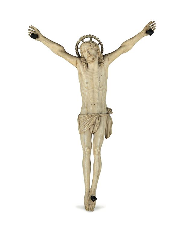 A Corpus Christi in ivory and ebonized wood. Baroque art from the 18th century