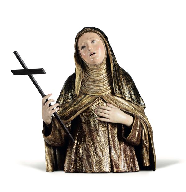 A bust of Saint Theresa of Avila in gilt and polychrome wood, Spanish art from the 17th century. Circle of Luisa Roldan (Seville 1652 - Madrid 1706)