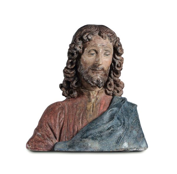 A polychrome stucco bust depicting Christ the Redentor, Andrea di Pietro di Marco Ferrucci (1465-1526), attribuited to