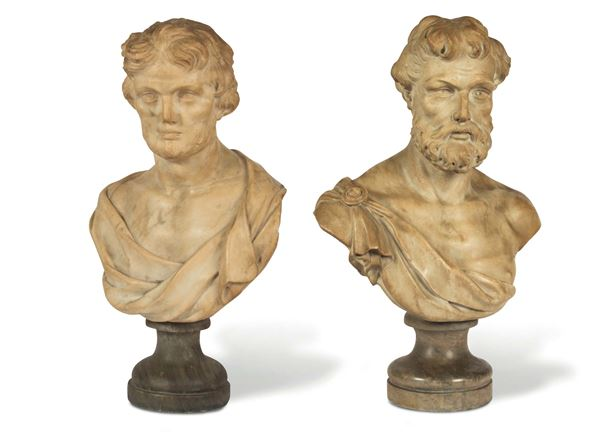 A pair of male busts in white marble. Tuscan Baroque sculptor active between the 17th and the 18th century,  [..]