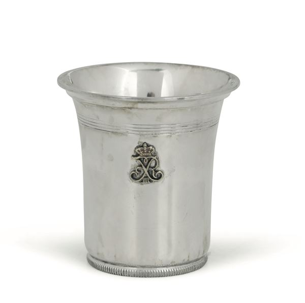 A glass in embossed and chiselled silver with a crowned monogram, Copenhagen 19th century