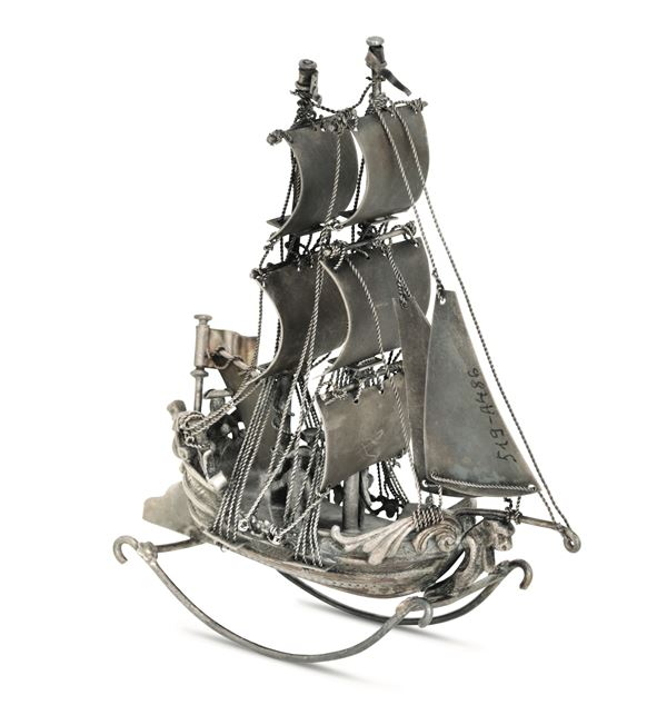 A model of a sailing ship in molten, embossed, chiselled and perforated silver. Europe, 19th century