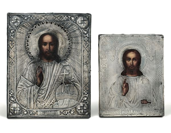 Two icons depicting Christ Pantocrator, Moscow, 1870s