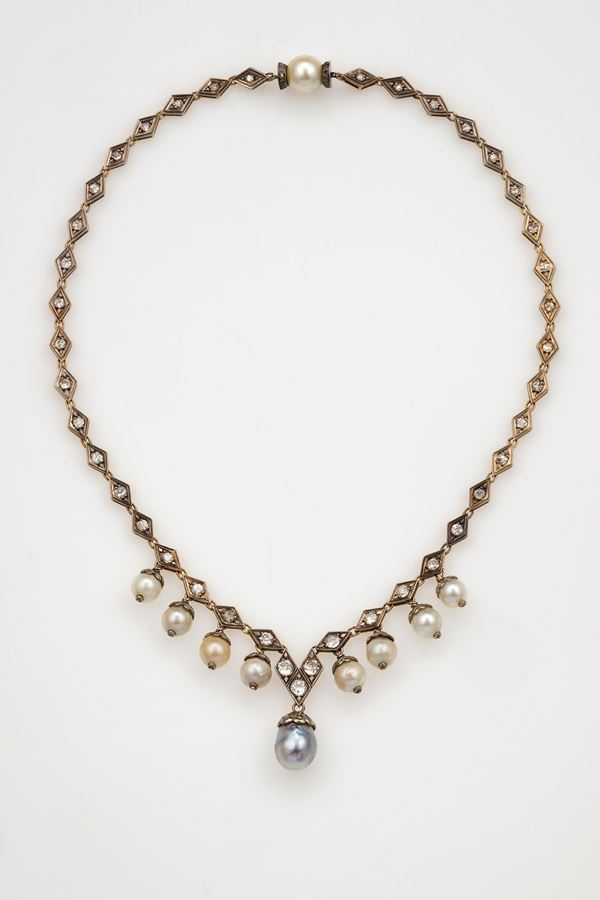Pearl, diamond, gold and silver necklace