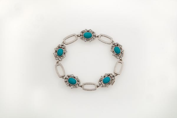 Turquoise and gold bracelet. Signed Enrico Cirio