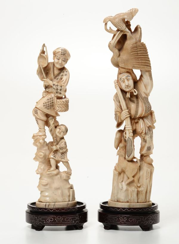 Two ivory groups, Japan, early 1900s