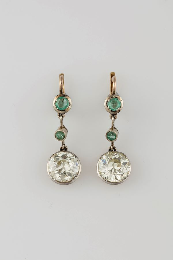 Pair of old cut-diamond and emerald pendent earrings