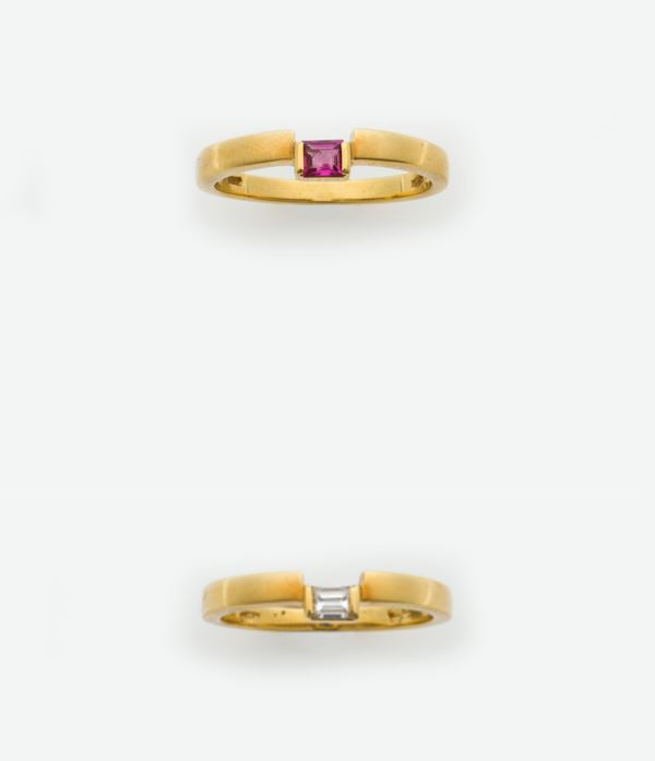 Two ruby and diamond rings