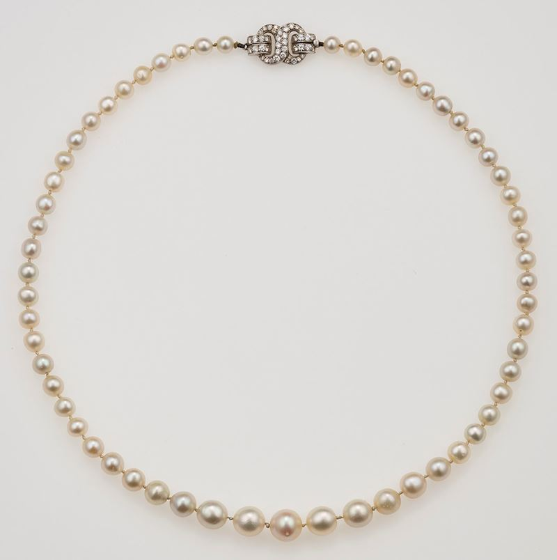 Natural pearl necklace. Designed as a graduated row of fifty-nine natural pearls  - Auction Fine Jewels - Cambi Casa d'Aste