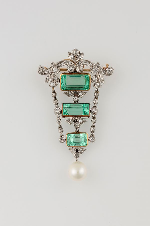 Emerald, diamond and pearl brooch/pendant. Signed Marcus & Co.
