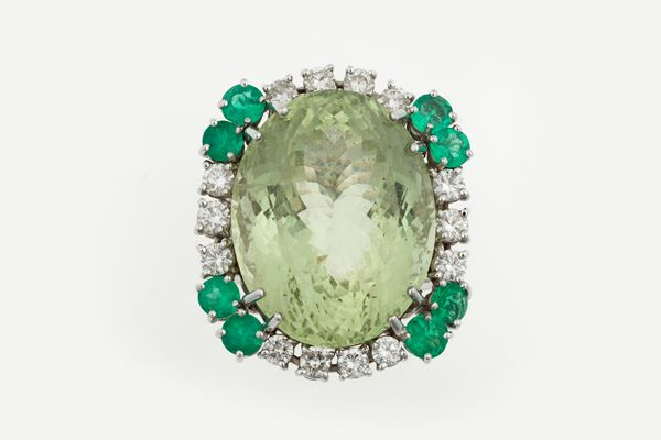 Beryl with diamond and emerald cluster ring