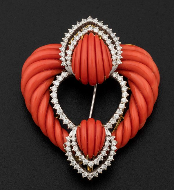 Carved coral and diamond brooch