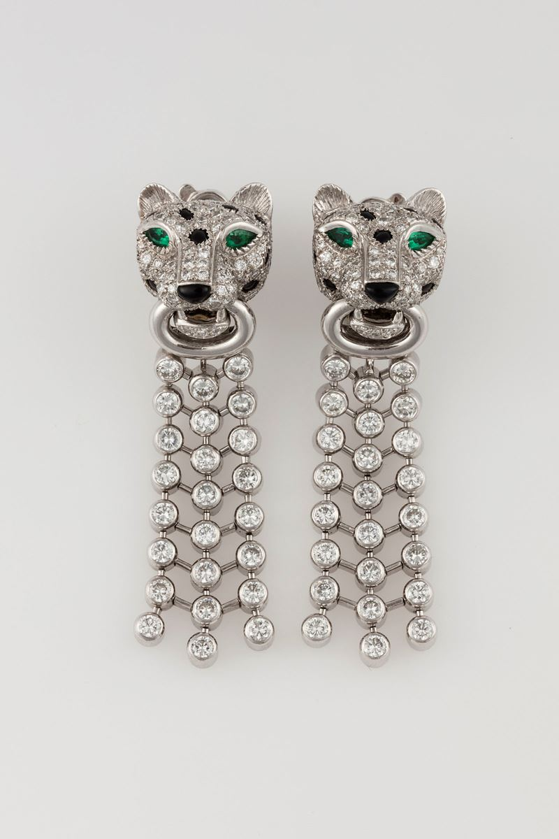 Pair of diamond, emerald, onix and platinum pendent earrings. Signed Cartier???  - Auction Fine Jewels - Cambi Casa d'Aste