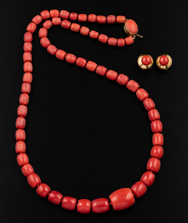 A group of coral and gold jewellery