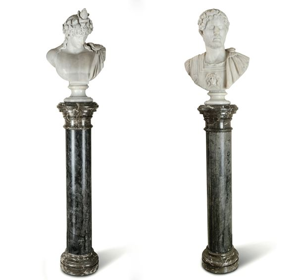 Two marble busts, 19th century