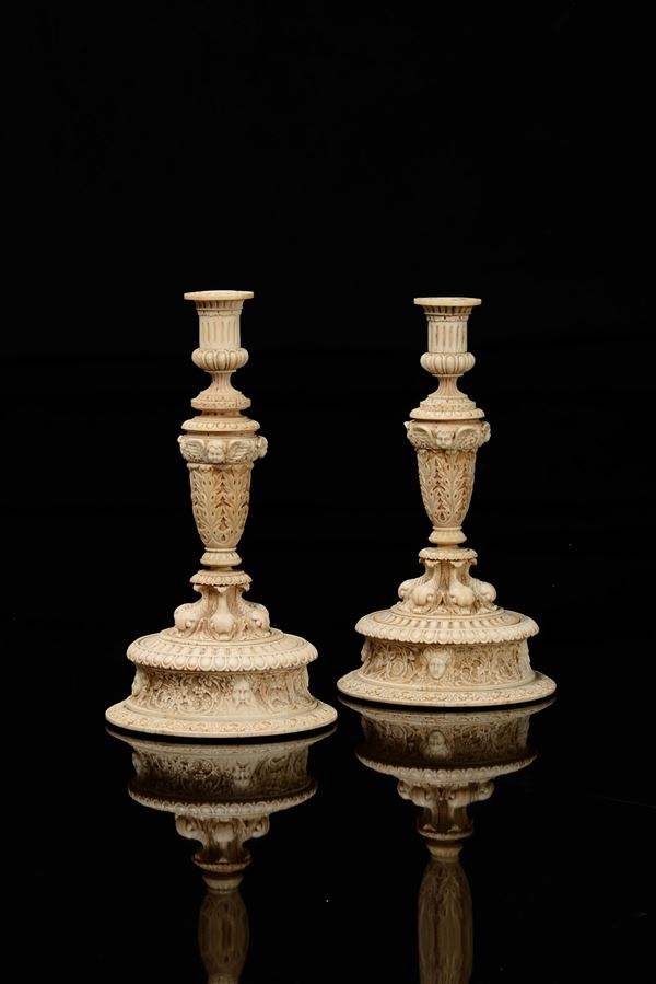 Two important ivory candleholders, France, 1800s