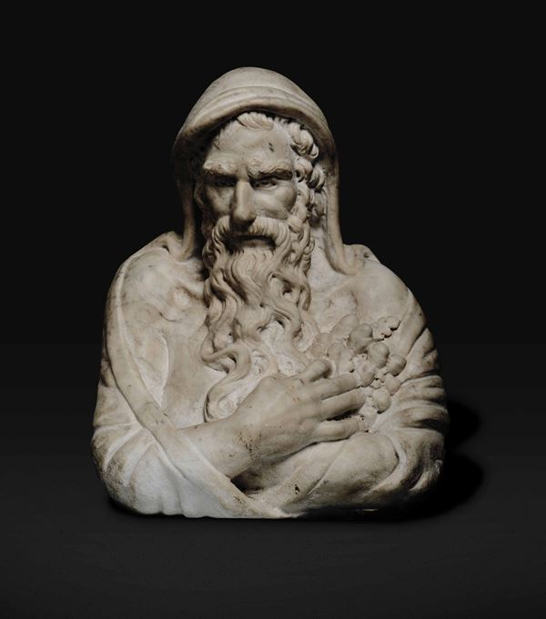 A marble bust, attrib. GM Benzoni, Rome, mid 1800s