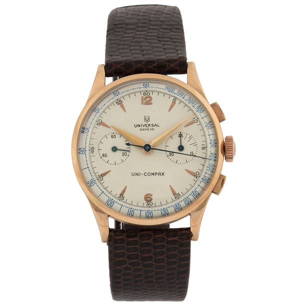 Universal, Geneve, Uni-Comapax, Ref. 124103, . Fine and rare, 18K pink gold chronograph wristwatch with original gold plated buckle. Made circa 1950