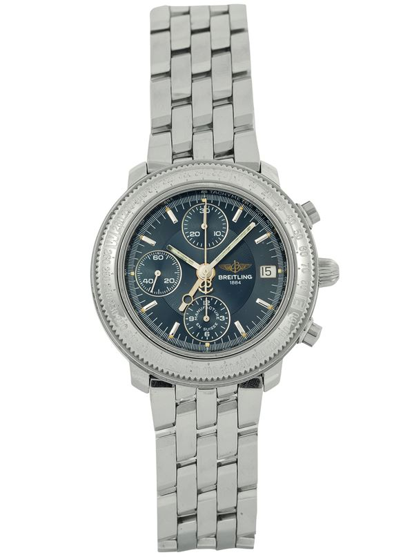 Breitling, Astromat, Ref.754. Fine, water resistant, self-winding,  stainless steel chronograph wristwatch with date and original bracelet with dployant clasp. Made circa 2000. Accompanied by the original box