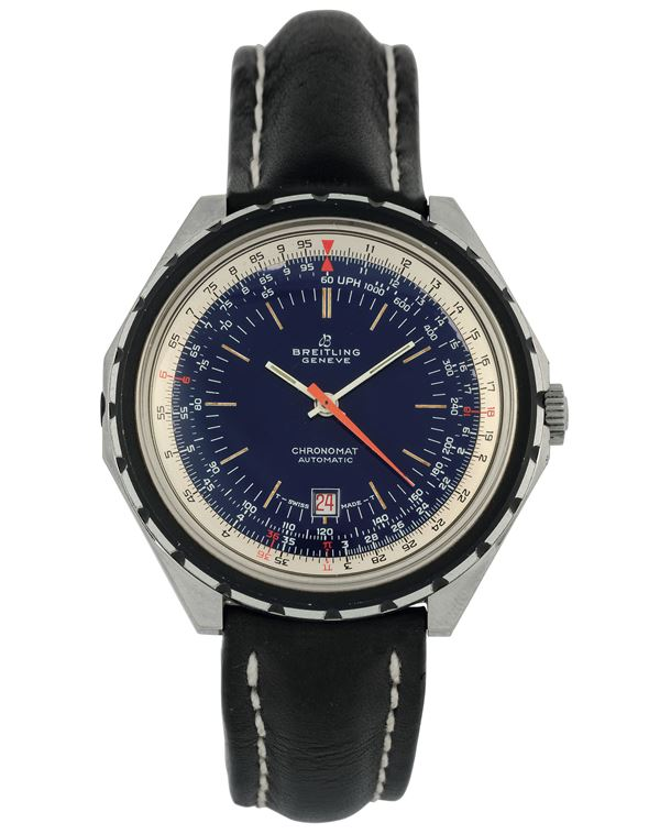 Breitling, Geneve, Chronomat, Automatic, Ref. 188.3, Prototype blue Dial. Fine and rare, self-winding, water resistant, stainless steel wristwatch with date, slide rule and original buckle. Made circa 1960