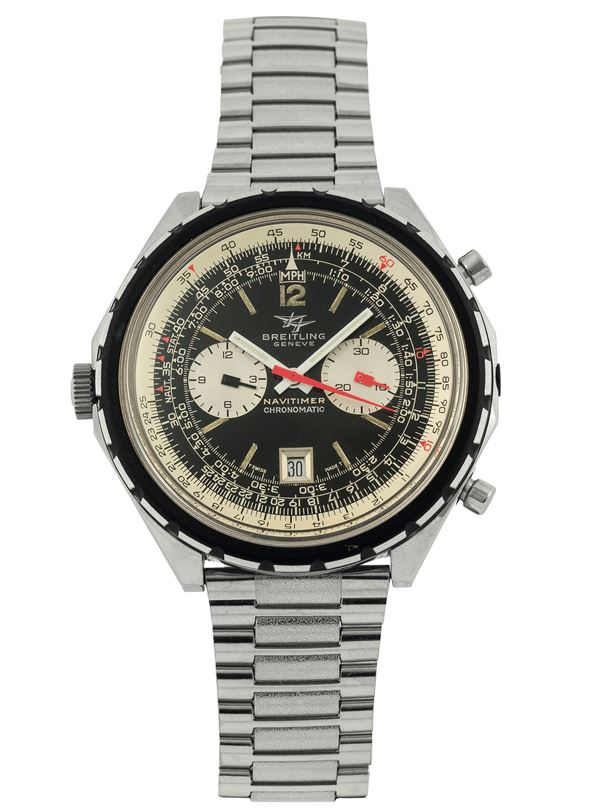 Breitling, Genève, Navitimer Chrono-Matic, Ref. 1806. Fine and large, self-winding, water-resistant, stainless steel, LEFT-HANDED wristwatch with round button chronograph, registers, telemeter, slide rule and date, winding crown at 9, chronograph push buttons at 2 & 4 o'clock with a stainless steel Breitling link bracelet. Made in the 1970s. Accompanied by the original box