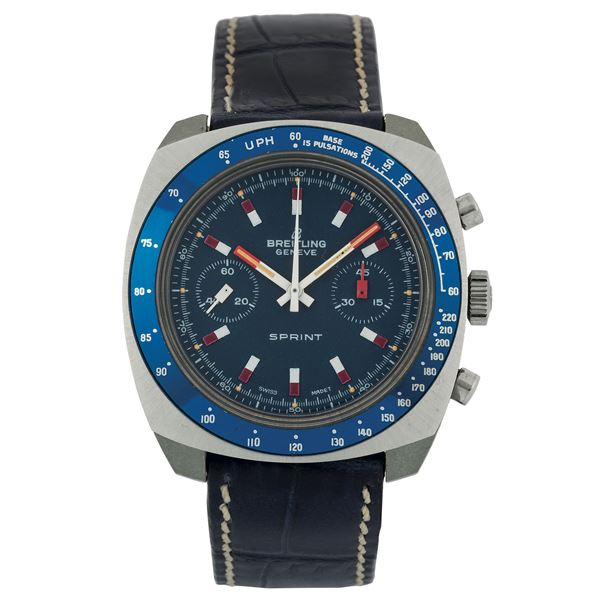 Breitling, Geneve, Sprint, Ref. 2016. Fine, ultra-light, cushion-shaped, waterproof, stainless steel and resin wristwatch with round button chronograph, register, pulsometer and tachometer. Made circa 1970