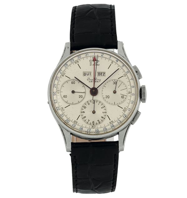 Breitling, Datora, case No. 608850, Ref. 785. Fine and very rare, stainless steel chronograph wristwatch with  registers,  triple date and original buckle. Made circa in 1950.