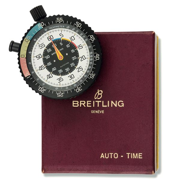 Breitling. Fine, giant dash mounted Timer. Made circa 1970. Accompanied by the original box and tools.