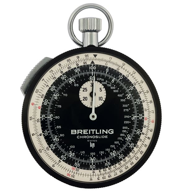 Breitling, Chronoslide, Ref. 1577.  Fine and rare, nickel chromium one-minute flyback stopwatch with 30-minute register, inner bidirectional bezel for calculations and slide for stopping. Made circa 1970