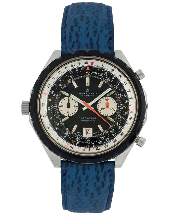 Breitling Genève, Chronomat, Automatic, Ref. 1808.  Fine and oversized, self-winding, water resistant, stainless steel wristwatch with date, round button chronograph, register and telemeter. Made circa 1970