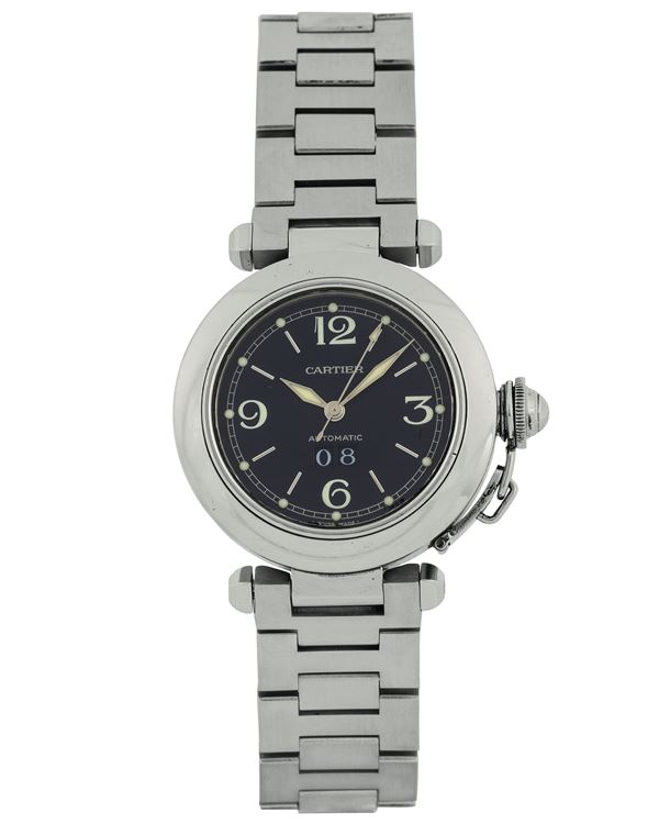 Cartier, Pasha Automatic, Ref. 99630PB. Fine, water resistant, self-winding, stainless steel wristwatch with date and original steel bracelet with deployant clasp. Made circa 2000.