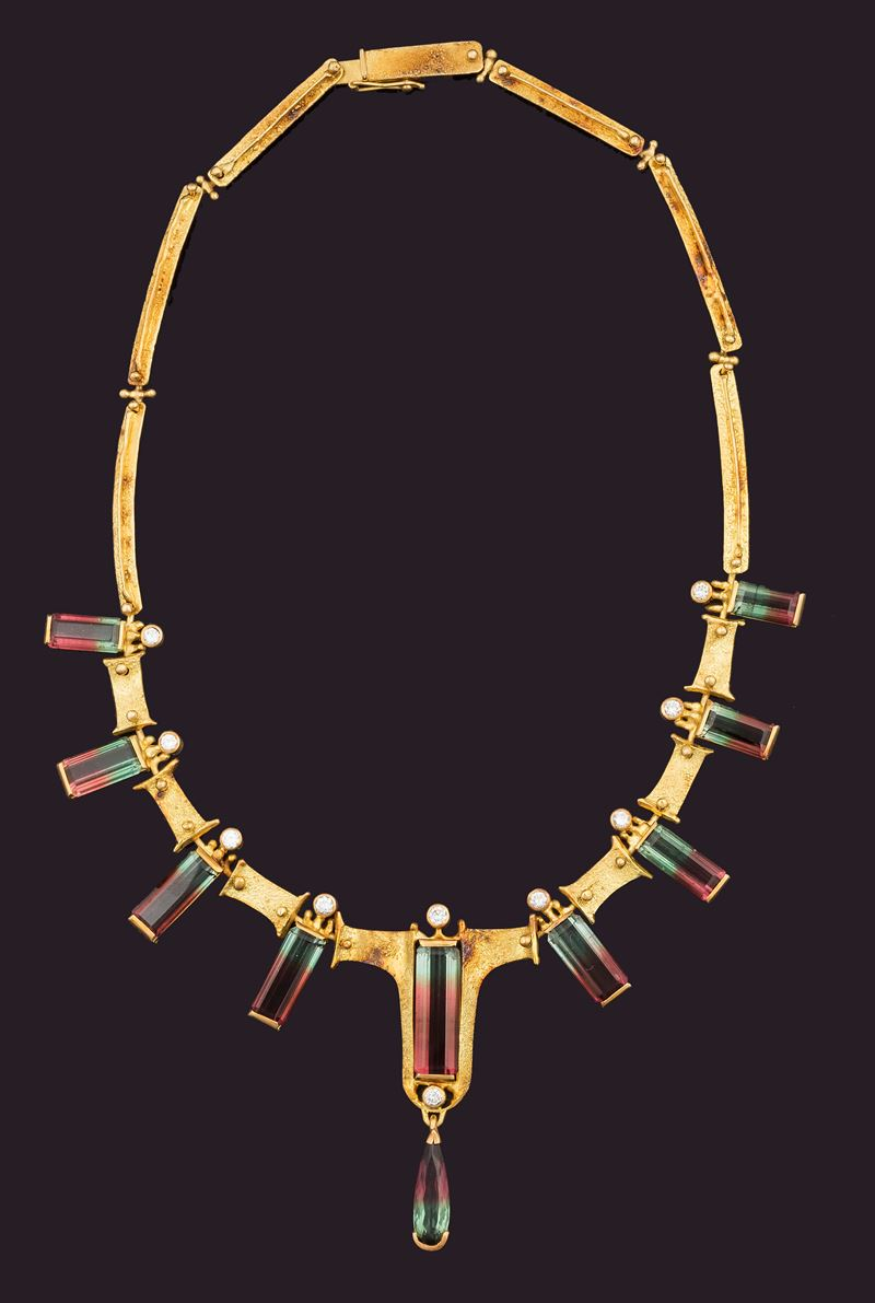 Tourmaline and diamond gold necklace  - Auction Fine Coral Jewels - I - Cambi Casa d'Aste